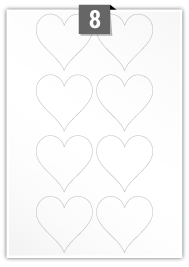 8 Heart Labels per A4 sheet
