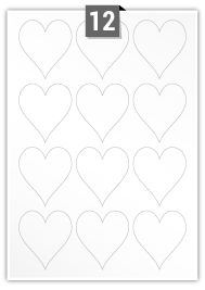 12 Heart Labels per A4 sheet