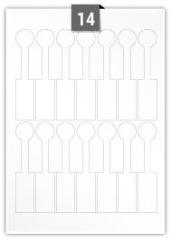14 étiquettes  irrégulière par feuille -  25.001 mm x 123.063 mm