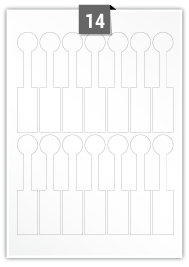 14 étiquettes irreguliere par feuille -  25.001 mm x 123.063 mm