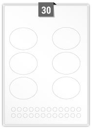30 étiquettes irreguliere par feuille -  70.5 mm x 55.4 mm / 10.353 mm Diamètre