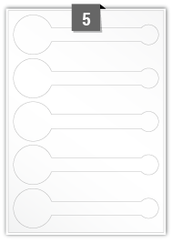5 étiquettes irreguliere par feuille -  196 mm x 53 mm