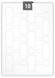 10 étiquettes  irrégulière par feuille -  90 mm x 65 mm