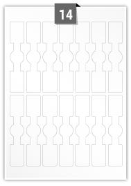 14 étiquettes  irrégulière par feuille -  25 mm x 125 mm