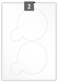 2 Irregular Labels per A4 sheet - 145 mm x 130 mm