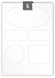 5 Irregular Labels per A4 sheet