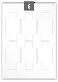 6 étiquettes irreguliere par feuille -  60 mm x 110 mm