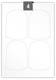 4 étiquettes irreguliere par feuille -  90 mm x 120 mm