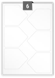 6 étiquettes irreguliere par feuille -  98.134 mm x 85 mm