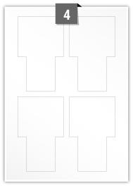 4 étiquettes  irrégulière par feuille -  80 mm x 130 mm