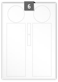 6 étiquettes irreguliere par feuille -  67 mm Diamètre / 75 mm x 211 mm / 13 mm x 43 mm