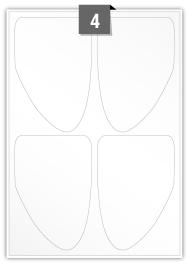 4 étiquettes irreguliere par feuille -  95 mm x 140 mm
