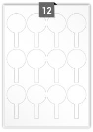 12 étiquettes irreguliere par feuille -  48 mm x 83 mm