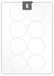 8 étiquettes irreguliere par feuille -  74 mm x 69 mm