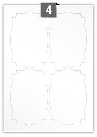 4 étiquettes irreguliere par feuille -  89.5 mm x 132.7 mm