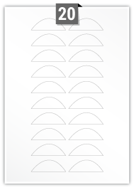 20 étiquettes irreguliere par feuille -  60 mm x 20 mm