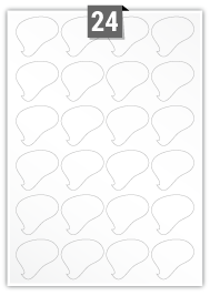 24 Irregular Labels per A4 sheet