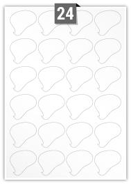 24 étiquettes irreguliere par feuille -  47 mm x 44 mm