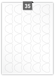 35 étiquettes  irrégulière par feuille -  32.99 mm x 39.41 mm