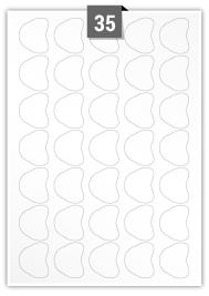 35 étiquettes irreguliere par feuille -  32.99 mm x 39.41 mm