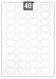 40 étiquettes irreguliere par feuille -  42.6 mm x 24.2 mm