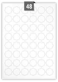 48 étiquettes irreguliere par feuille -  30 mm x 30 mm