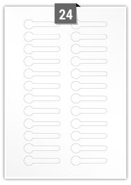 24 étiquettes  irrégulière par feuille -  63.486 mm x 17 mm