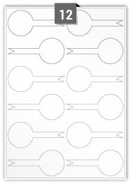 12 étiquettes irreguliere par feuille -  100 mm x 45 mm