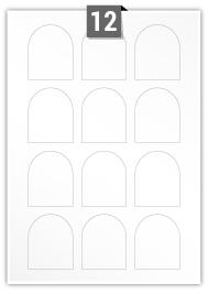 12 étiquettes irreguliere par feuille -  50 mm x 60 mm