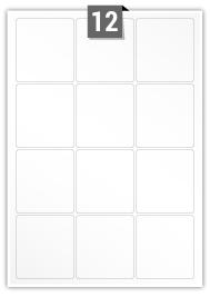 12 Rectangle Labels per A4 sheet - 65 mm x 70 mm