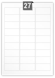 27 étiquettes rectangulaires par feuille -  63.5 mm x 29.6 mm