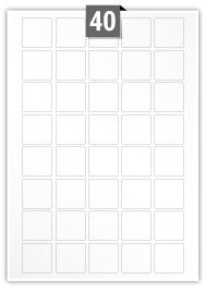 40 Square Labels per A4 sheet