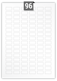 96 étiquettes  rectangulaires par feuille -  24 mm x 12 mm