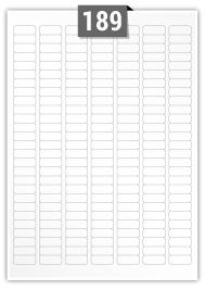 189 étiquettes  rectangulaires par feuille -  25.4 mm x 10 mm