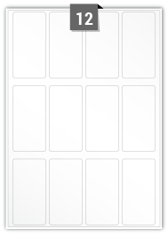 12 étiquettes  rectangulaires par feuille -  45 mm x 90 mm