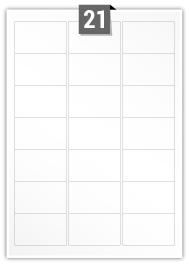 21 étiquettes rectangulaires par feuille -  63.5 mm x 38.1 mm