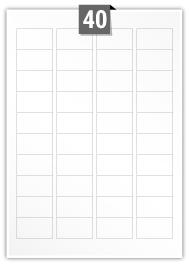 40 étiquettes rectangulaires par feuille -  45.7 mm x 25.5 mm