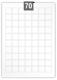 70 Square Labels per A4 sheet