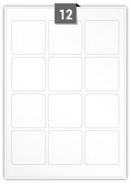 12 étiquettes  carré par feuille -  60 mm x 60 mm