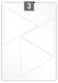 3 étiquettes triangle par feuille -  152 mm x 131.6 mm