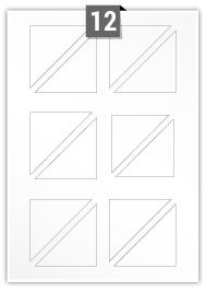 12 étiquettes irreguliere par feuille -  70 mm x 70 mm