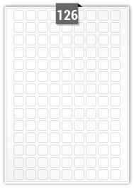126 étiquettes carre par feuille -  17 mm x 17 mm