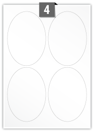 4 Oval Labels per A4 sheet