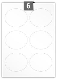 6 étiquettes ovale par feuille -  92 mm x 76 mm
