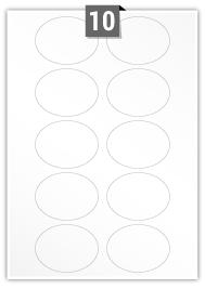 10 Oval Labels per A4 sheet - 75 mm x 55 mm