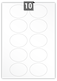 10 étiquettes ovale par feuille -  75 mm x 55 mm