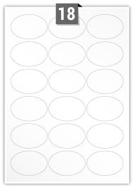 18 Oval Labels per A4 sheet