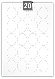 20 Oval Labels per A4 sheet
