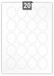 20 étiquettes ovale par feuille -  40 mm x 50 mm