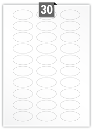 30 Oval Labels per A4 sheet